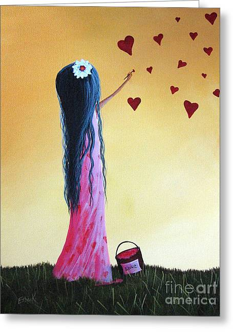 Flower In Hair Greeting Cards - How She Says I Love You by Shawna Erback Greeting Card by Shawna Erback