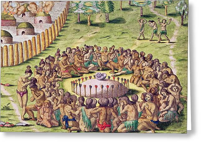 Gathering Drawings Greeting Cards - How the Chief is Buried Greeting Card by Jacques Le Moyne