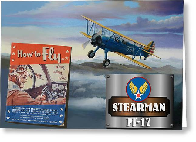 Aeronautical Greeting Cards - How To Fly Stearman PT-17 Greeting Card by Stuart Swartz
