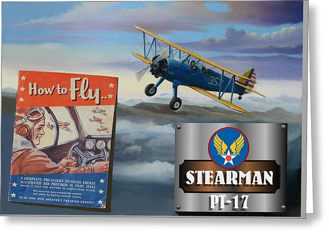 Aeronautics Greeting Cards - How To Fly Stearman PT-17 Greeting Card by Stuart Swartz