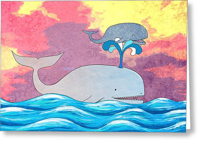 Ocean Mammals Mixed Media Greeting Cards - How Whales Have Fun Greeting Card by Shawna  Rowe