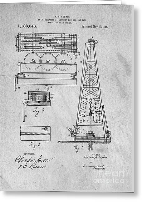 Universities Drawings Greeting Cards - Howard Huges Drilling Rig Original Patent Greeting Card by Edward Fielding