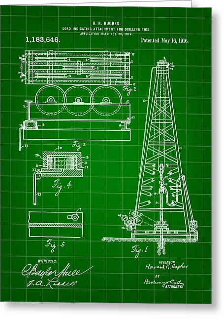 Sea Platform Greeting Cards - Howard Hughes Drilling Rig Patent 1914 - Green Greeting Card by Stephen Younts