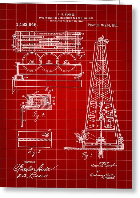 Sea Platform Greeting Cards - Howard Hughes Drilling Rig Patent 1914 - Red Greeting Card by Stephen Younts