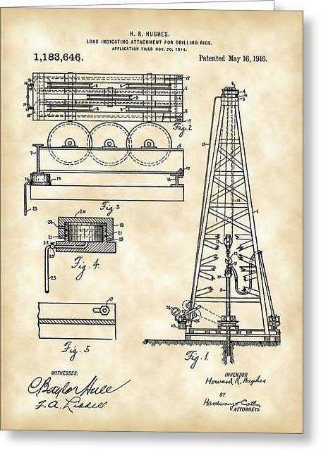 Sea Platform Greeting Cards - Howard Hughes Drilling Rig Patent 1914 - Vintage Greeting Card by Stephen Younts