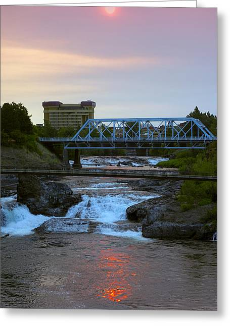 """spokane Falls"" Greeting Cards - Howard Street Bridge Dawn Greeting Card by Daniel Hagerman"