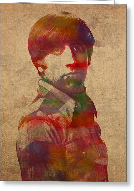 Howard Greeting Cards - Howard Wolowitz Big Bang Theory Watercolor Portrait On Worn Distressed Canvas Greeting Card by Design Turnpike