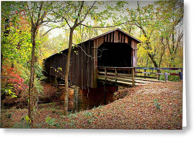 Covered Bridge Greeting Cards - Howards Covered Bridge Greeting Card by Reid Callaway