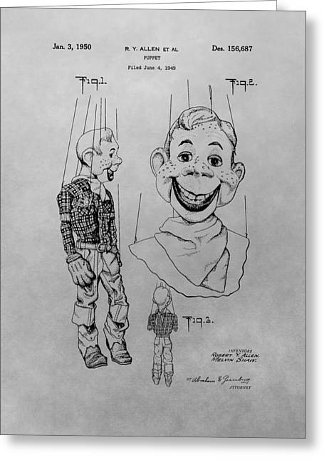 Old Tv Drawings Greeting Cards - Howdy Doody Patent Drawing Greeting Card by Dan Sproul