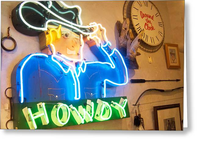 Taos Greeting Cards - Howdy from the Neon Cowboy Taos  Greeting Card by Mary Lee Dereske