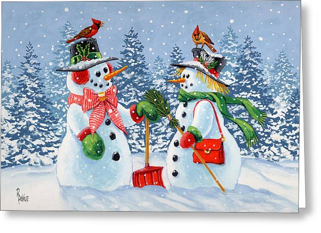 Snowman Christmas Card Greeting Cards - Howdy Neighbour Greeting Card by Richard De Wolfe