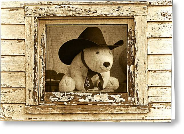 Painted Wood Greeting Cards - Howdy Partner Greeting Card by John Stephens