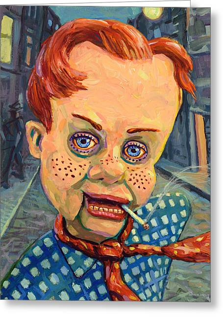 Smoking Greeting Cards - Howdy Von doody Greeting Card by James W Johnson