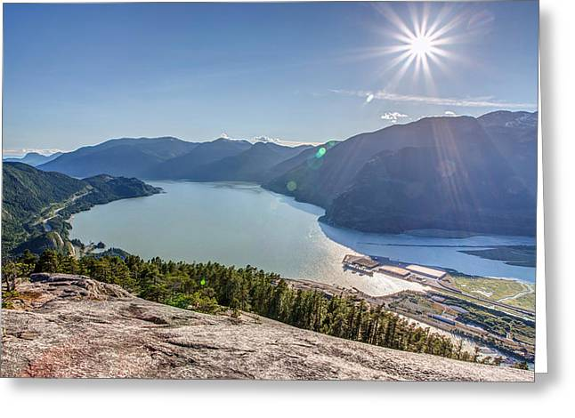 Kite Surfing Greeting Cards - Howe Sound from the Summit of the Stawamus Chief Greeting Card by Pierre Leclerc Photography