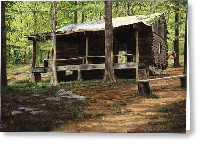 Old Wood Cabin Greeting Cards - Howell Log Cabin - Hartshorn Greeting Card by Don  Langeneckert