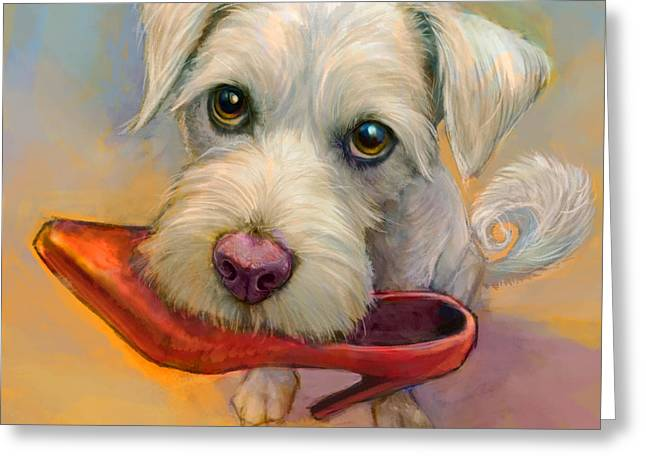 White Dog Greeting Cards - Howies Shoe Greeting Card by Sean ODaniels