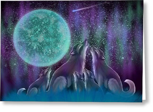 Wolves Digital Greeting Cards - Howling Together Greeting Card by Nick Gustafson