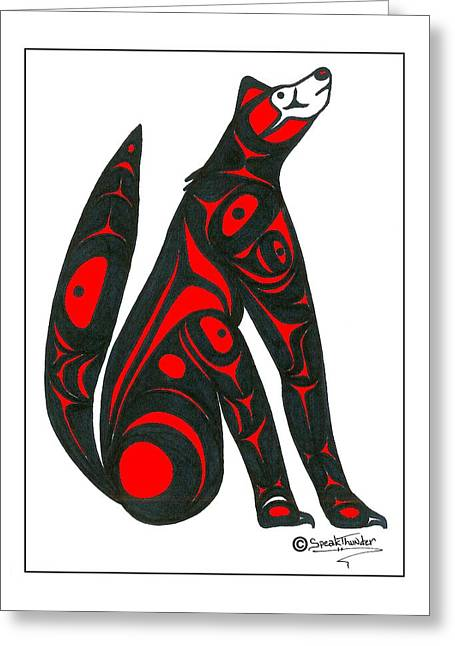 Speakthunder Berry Greeting Cards - Howling Wolf color Greeting Card by Speakthunder Berry