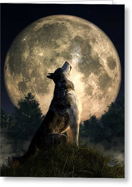 Wolf Moon Greeting Cards - Howling Wolf Greeting Card by Daniel Eskridge