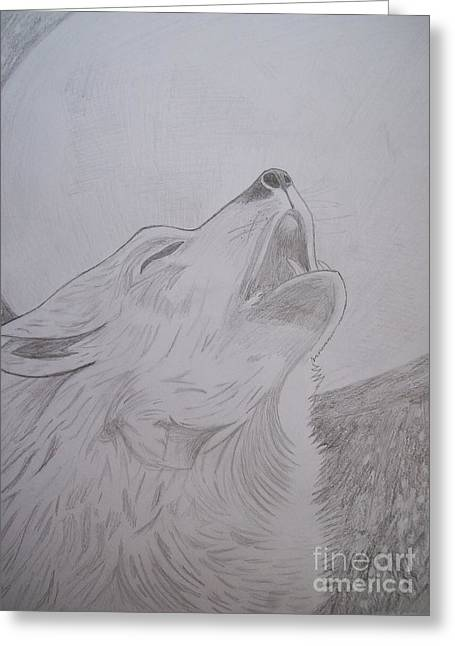 Deluded Greeting Cards - Howling Wolf Greeting Card by Isabel Proffit