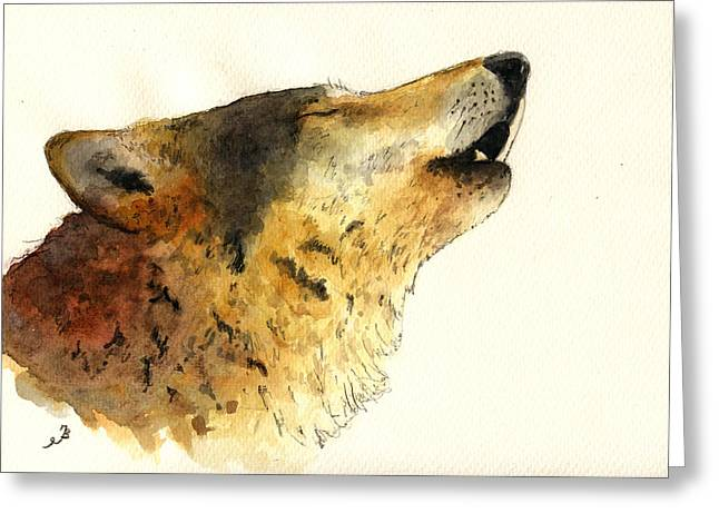 Howling Greeting Cards - Howling wolf. Greeting Card by Juan  Bosco