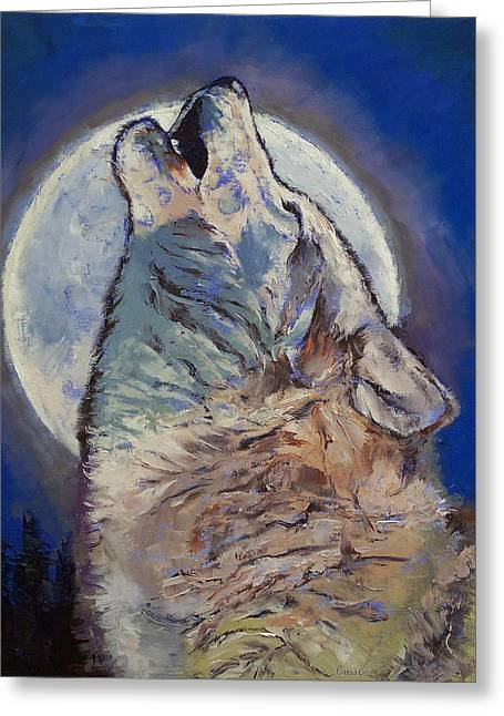 Howl Greeting Cards - Howling Wolf Greeting Card by Michael Creese