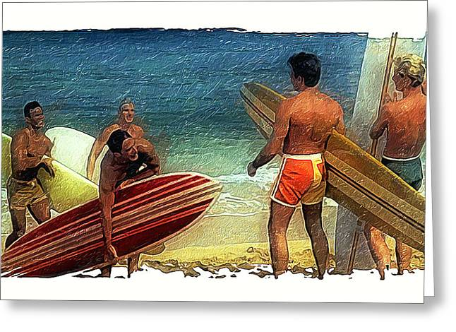 Chang Greeting Cards - Hows The Surf Greeting Card by Ron Regalado