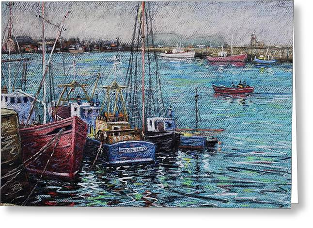 Canvas Pastels Greeting Cards - Howth Harbour  Dublin Greeting Card by John  Nolan