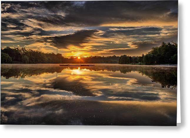 Fog Greeting Cards - Hoyt Lake Sunrise Greeting Card by Chris Bordeleau