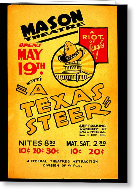Steer Greeting Cards - Hoyts A Texas Steer Greeting Card by Unknown