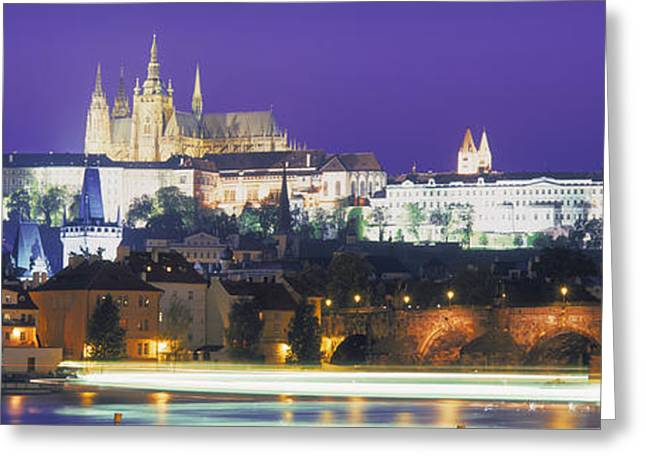 Hradcany Greeting Cards - Hradcany Castle And Charles Bridge Greeting Card by Panoramic Images