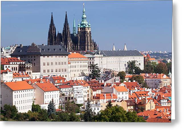 Vitus Greeting Cards - Hradcany Castle With St. Vitus Greeting Card by Panoramic Images
