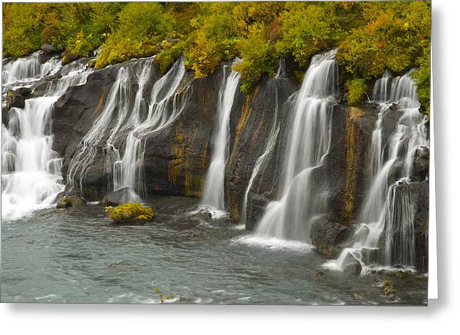 Bob Berwyn Greeting Cards - Hraunfossar Greeting Card by Bob Berwyn