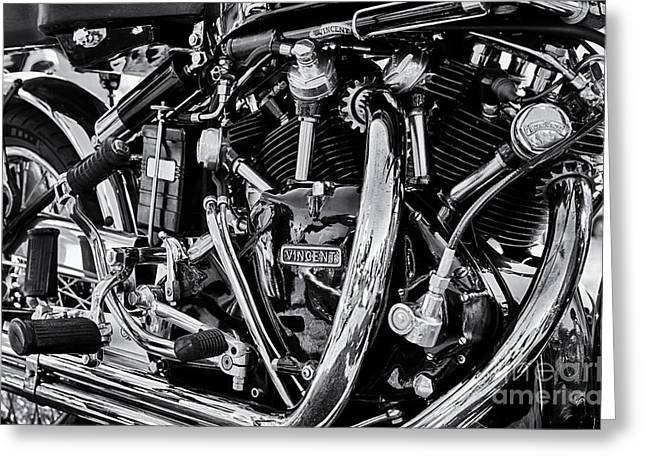 British Culture Greeting Cards - HRD Vincent Motorcycle Engine Greeting Card by Tim Gainey