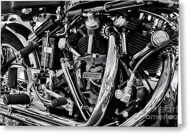 Lifestyle Greeting Cards - HRD Vincent Motorcycle Engine Greeting Card by Tim Gainey