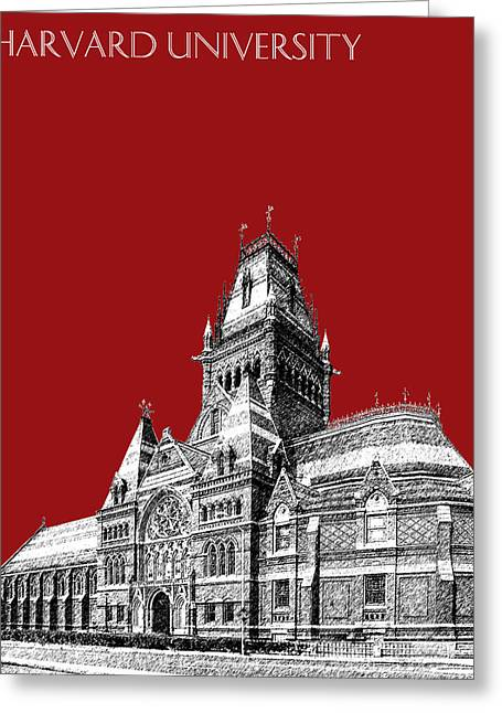 Hall Digital Art Greeting Cards - Harvard University - Memorial Hall - Dark Red Greeting Card by DB Artist