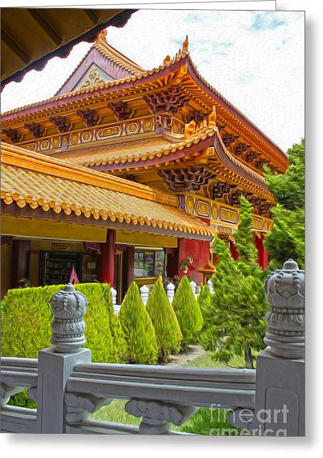 Hsi Lai Temple - 02 Greeting Card by Gregory Dyer