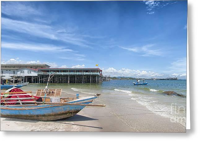 Huahin Greeting Cards - Hua Hin Beach Panorama Greeting Card by Antony McAulay