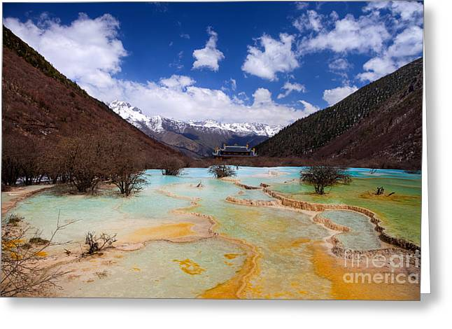 Sichuan Province Greeting Cards - Huanglong Valley Sichuan ChinaHuanglong is a nature reserve  Greeting Card by Fototrav Print