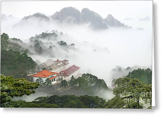 Mist Greeting Cards - Huangshan national park Greeting Card by King Wu