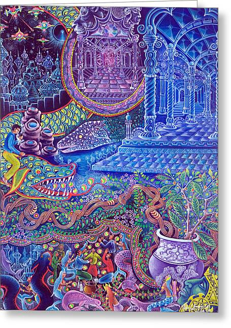 Ayahuasca Greeting Cards - Huasi Yachana Greeting Card by Pablo Amaringo