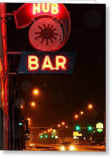 Snowy Night Greeting Cards - Hub Bar Snowy Night Greeting Card by Sylvia Thornton