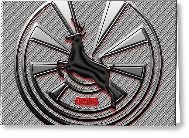 Garage Wall Art Greeting Cards - Hub Cap Greeting Card by Methune Hively