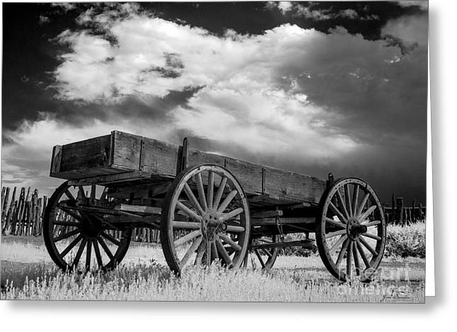 Black And White Of Hubbell Trading Post  Wagon In Arizona Greeting Card by Jim Swallow