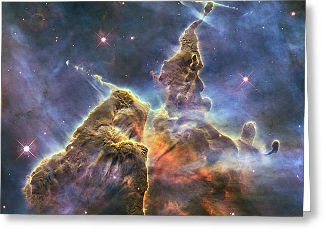 Outerspace Greeting Cards - Hubbles Fantasy Mountaintops  Greeting Card by Barry Jones