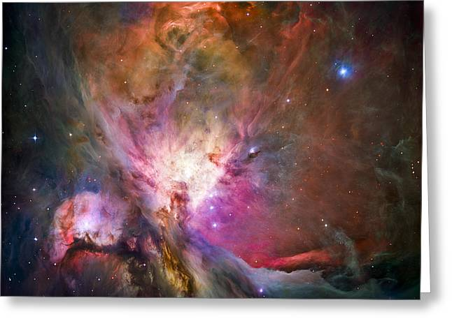 Alien Greeting Cards - Hubbles sharpest view of the Orion Nebula Greeting Card by Adam Romanowicz