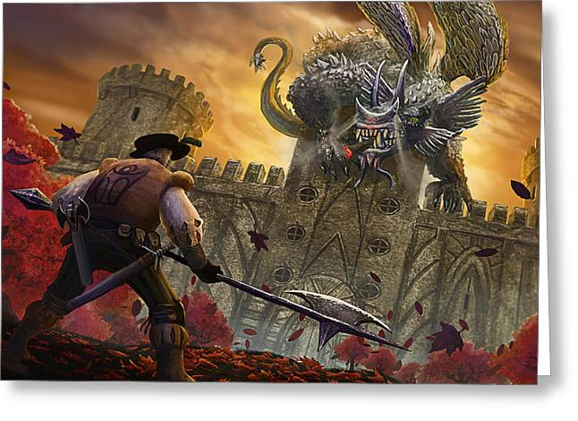 Hubert And The Smoking Dragon Greeting Card by Nicolas Palmer