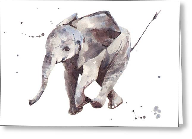 Watercolour Paintings Greeting Cards - Hubert Hurry Elephant Greeting Card by Alison Fennell