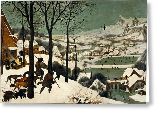 Dog In The Snow Greeting Cards - Hunters on the Snow Greeting Card by Pieter Bruegel the Elder