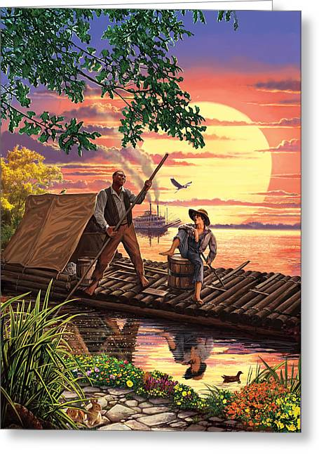 Huck Finn Variant 1 Greeting Card by Steve Crisp
